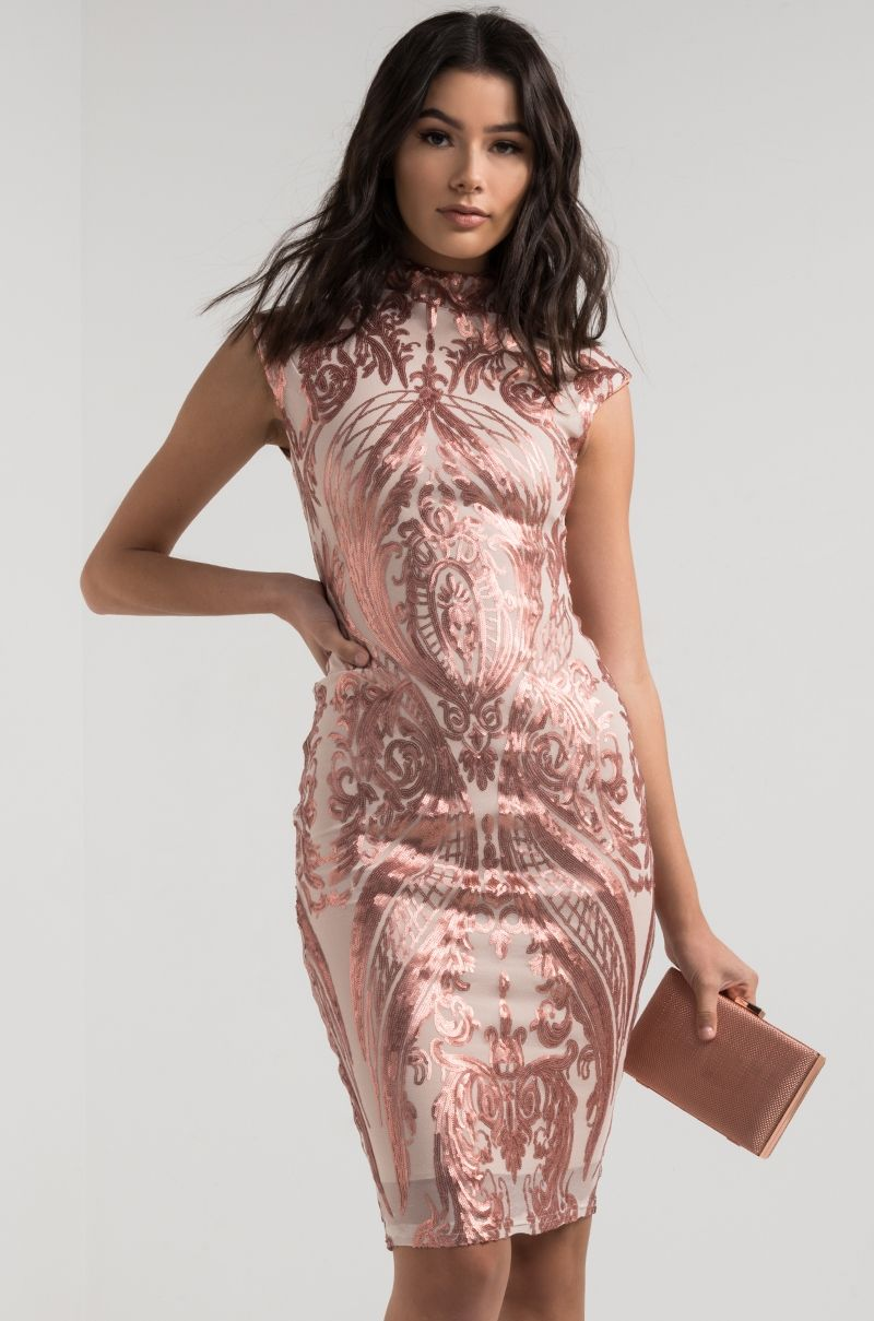 AKIRA High Neck Bodycon Sequin Mesh Dress in Gold Nude, Pink Nude ...