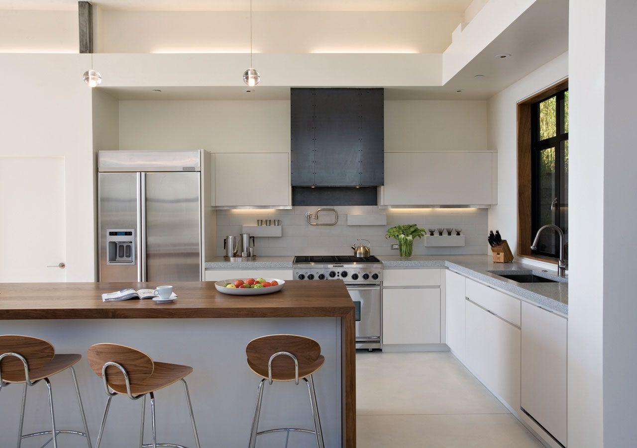 Kitchen Design Ideas with White Cabinets wooden benchtop   Kitchen ...