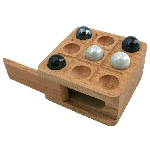 Zachary Travel Tic Tac Toe Board Game With Light Wood Board And
