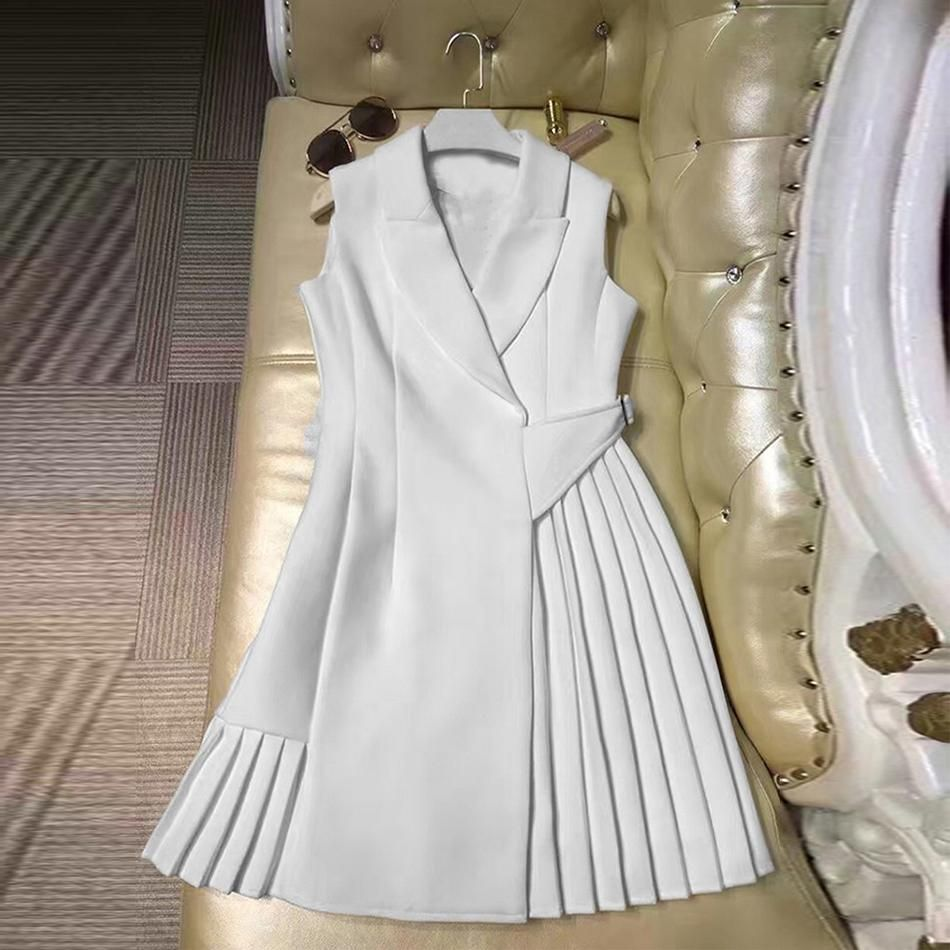 Runway Dress High Quality Women Vestidos Sleeveless Notched Collar Pleated Summer Dresses #autumnseason