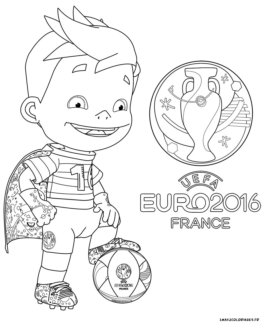 Coloriage de la mascotte officielle de l euro 2016 de football