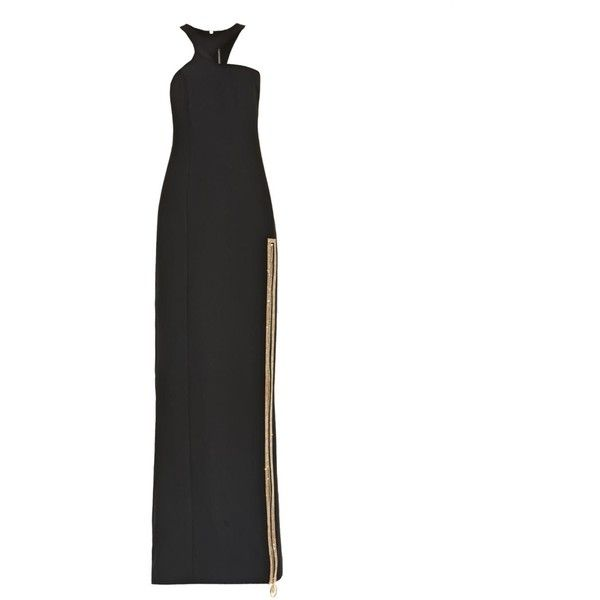 Versace Crystal-embellished silk-cady gown ($2,170) ❤ liked on Polyvore featuring dresses, gowns, black, formal ball gowns, black dress, black silk gown, silk gown y black evening gowns