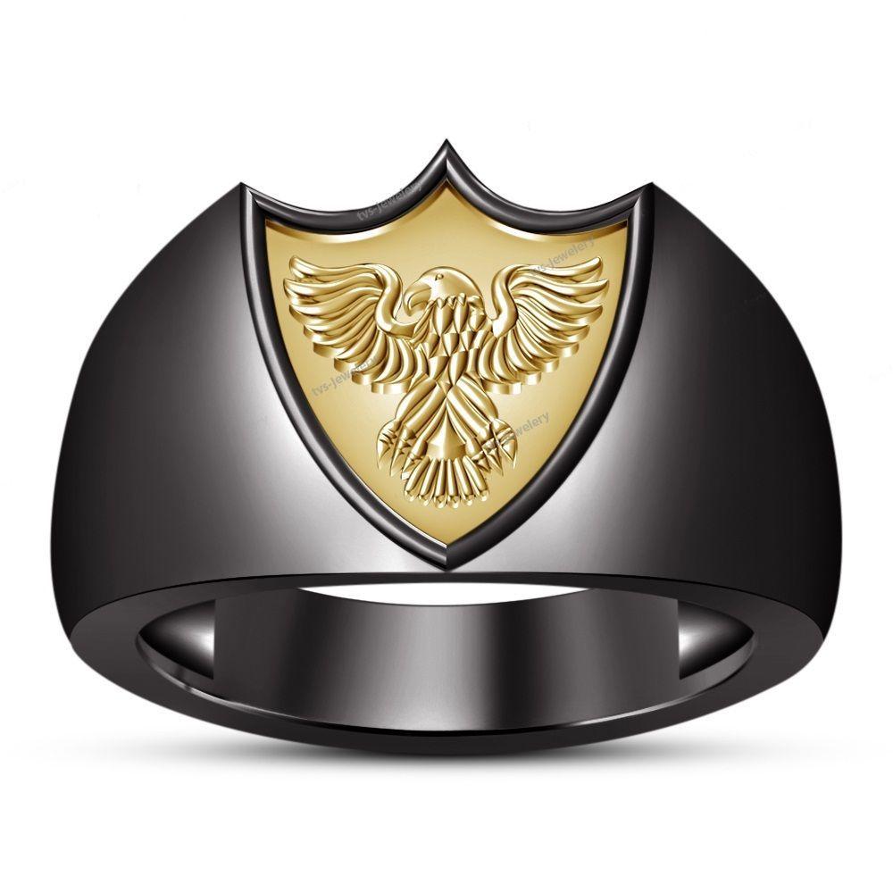 Men Pure 925 Silver Fancy Flying Eagle Two-Tone Finish Fashion Band Ring Sz 7-14 #tvsjewelery #FlyingEagleFashionBandRing #PartyGift
