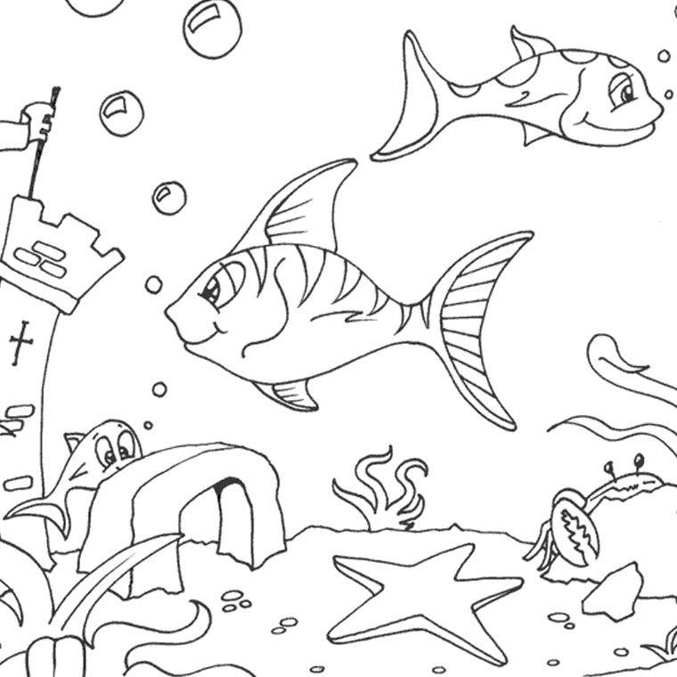 Coloriage poissons de mer coloriages coloriage - Coloriage paysage mer ...