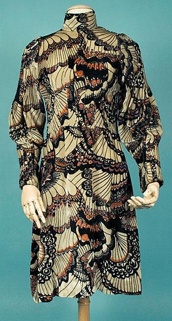 thea porter butterfly print.  anyone know the era of this dress?  Modern or vintage?