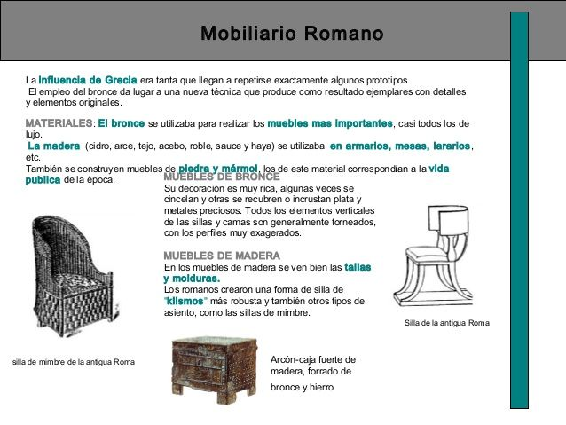 mobiliario romano la influencia de grecia era tanta que
