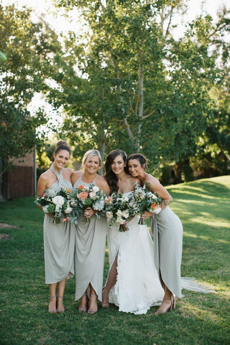 Modern Vineyard Wedding With Peach Details Polka Dot Bride Sage Green Bridesmaid Dress Olive Green Bridesmaid Dresses Green Bridesmaid Dresses [ 1152 x 768 Pixel ]