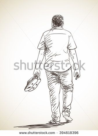 Sketch Of Man Walking Barefoot Back View Hand Drawn Illustration How To Draw Hands Old Man Walking Human Figure Sketches