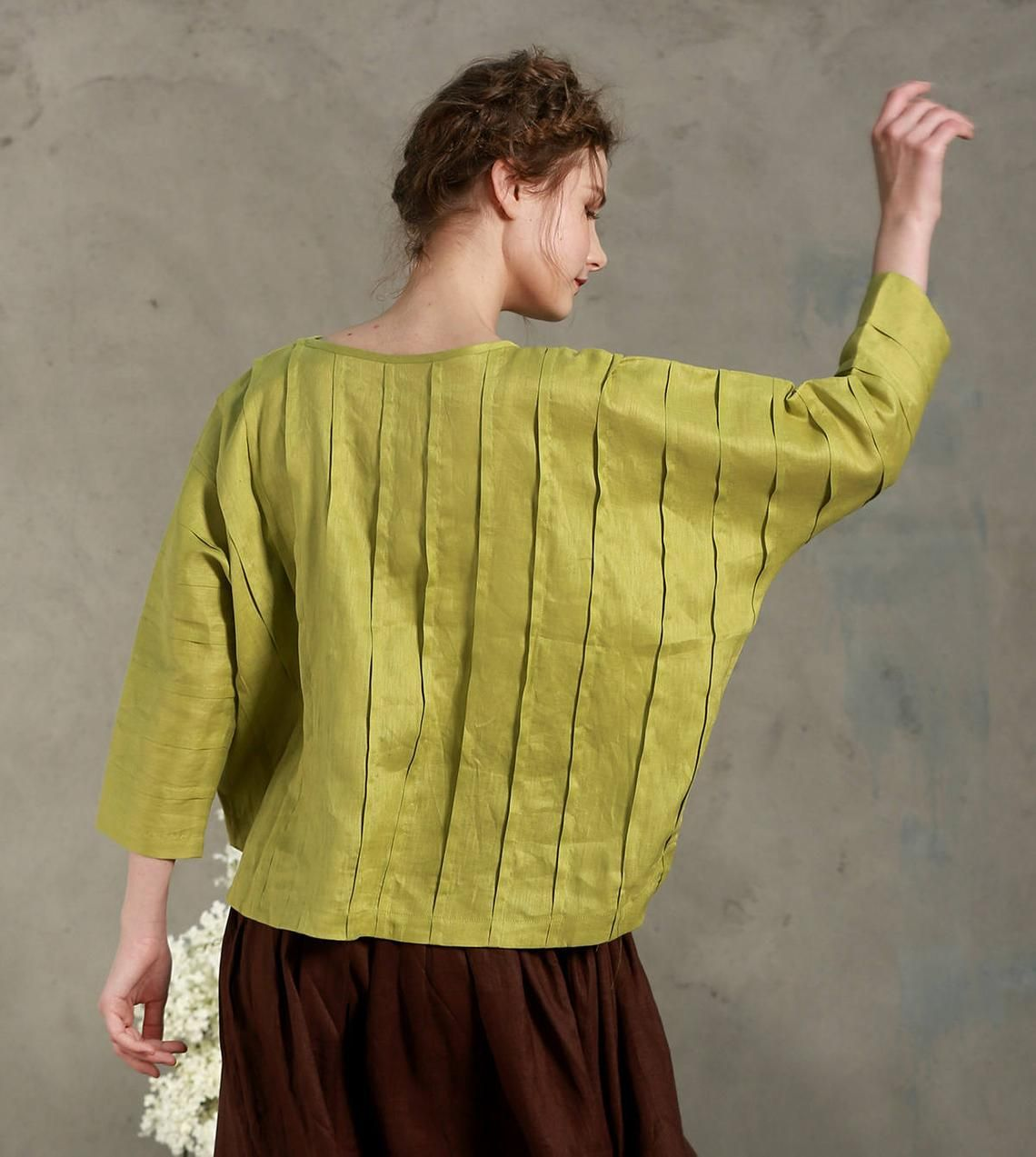 newest aa444 dd096 Leinen Tunika-Shirt in Orange, Pintucked-Hemd-Bluse, Plissee ...