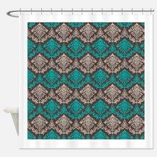 Teal Tan Damask Shower Curtain for Shower Curtains Blue Green