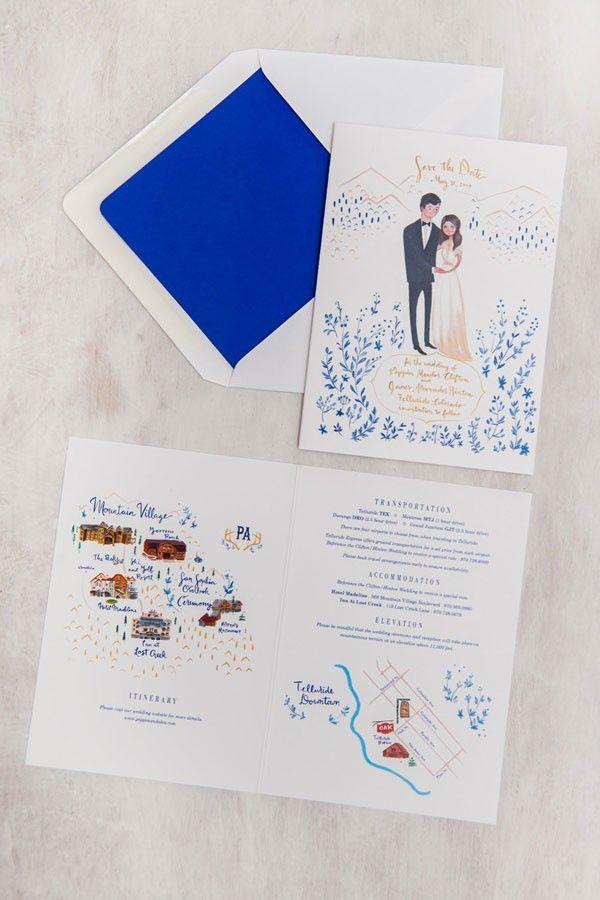 wedding invitations map%0A ski resort hand drawn  wedding invitation   Jolly Edition   http   www