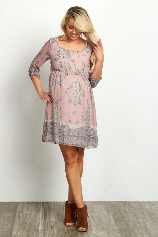 440be9f222a Mauve-Floral-Chiffon-3 4-Sleeve-Maternity-Dress
