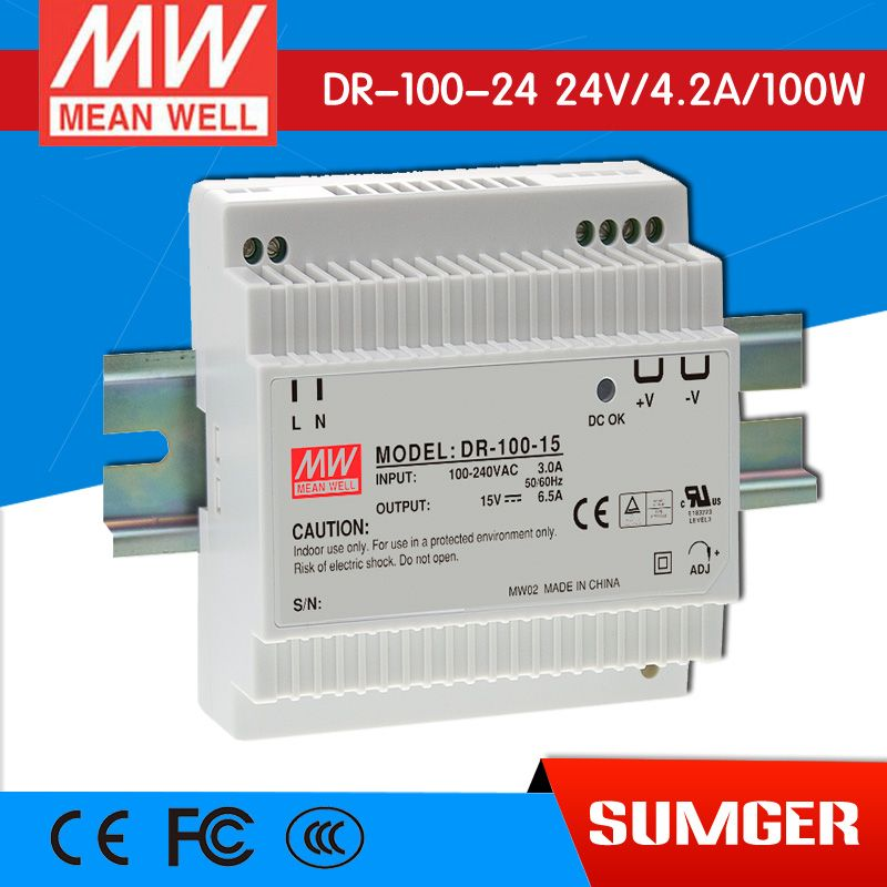 Mean Well Original Dr 100 24 24v 4 2a Meanwell Dr 100 24v 100 8w Single Output Industrial Din Rail Power Supply Power Power Supply Electrical Equipment