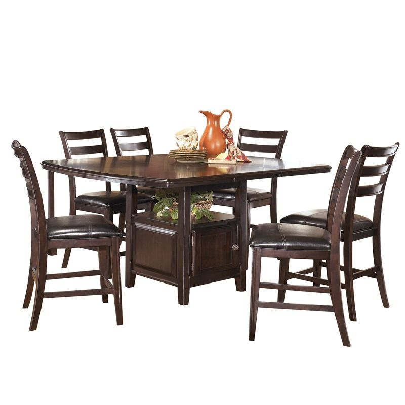 The Ridgley 9 Piece Counter Height Table From Ashley Furniture Comes In A Dark Brown Finish Features Rectangular With Leaf Centered Inlay