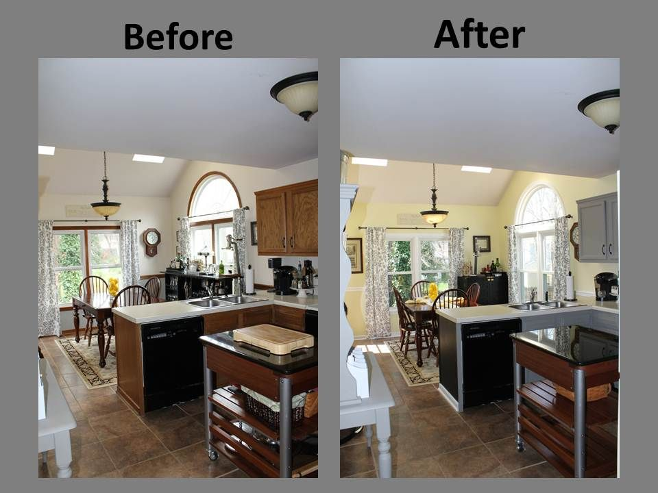 Best Yellow Gray Kitchen Remodel Before After 640 x 480