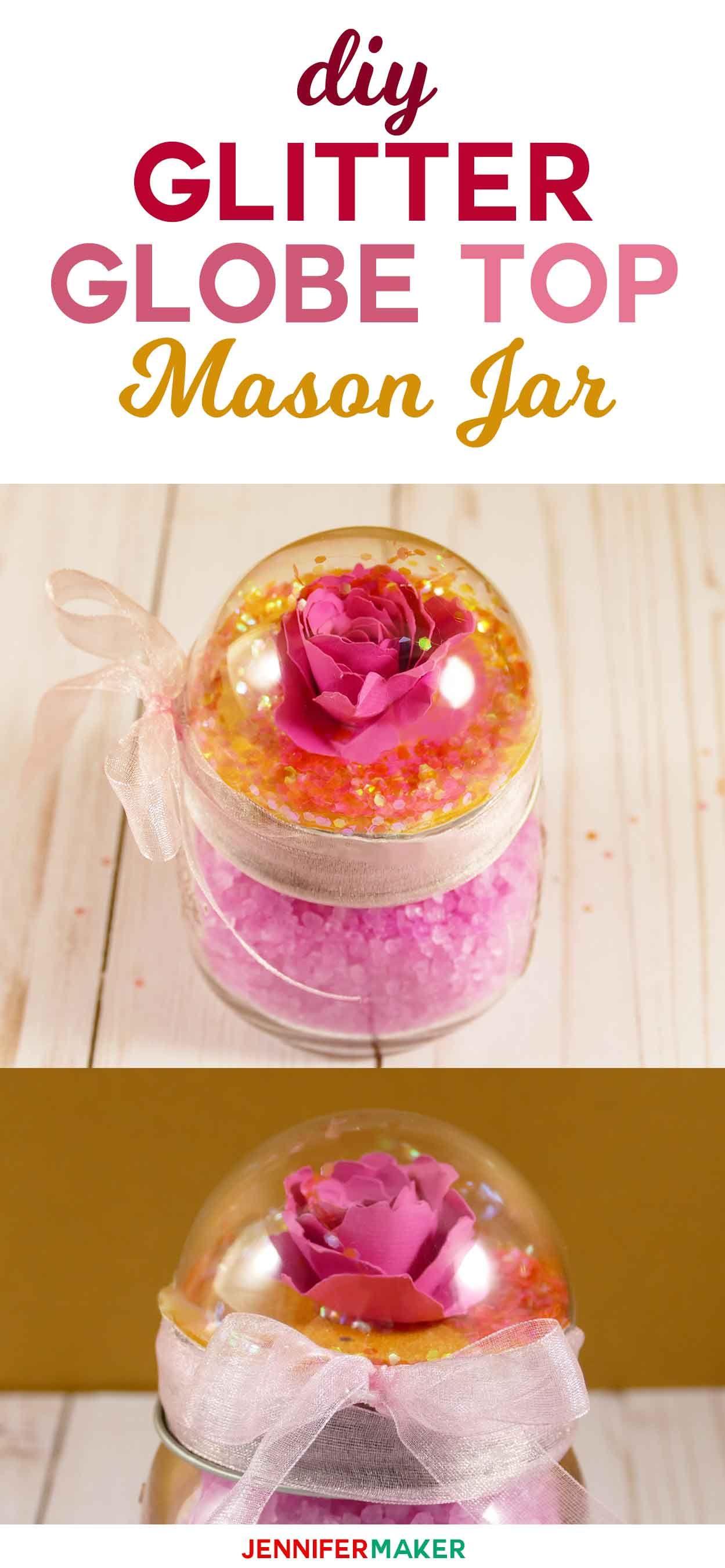 Snow Globe Top Mason Jars Rose Glitter Globe Mason Jar Diy