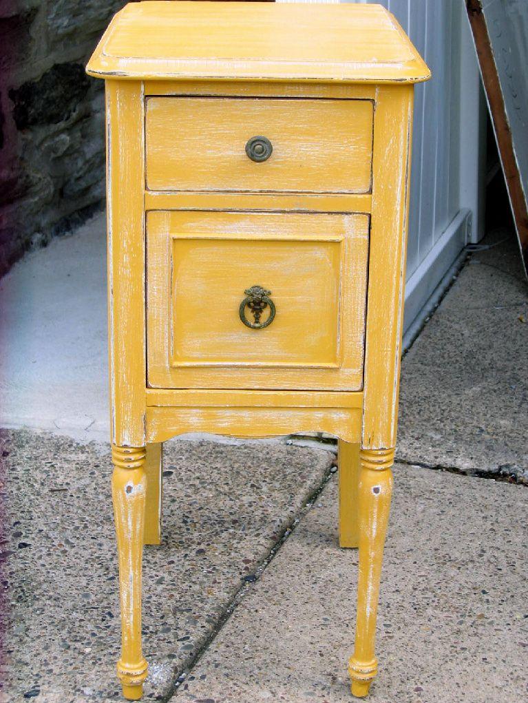 Shabby Chic Distressed Yellow Nightstand