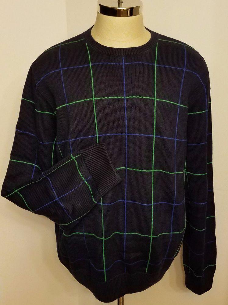 f076eaf69 Ralph Lauren Polo Golf Mens Pima Cotton Sweater Navy Blue Green Size XXL   RalphLaurenPoloGolf  Crewneck