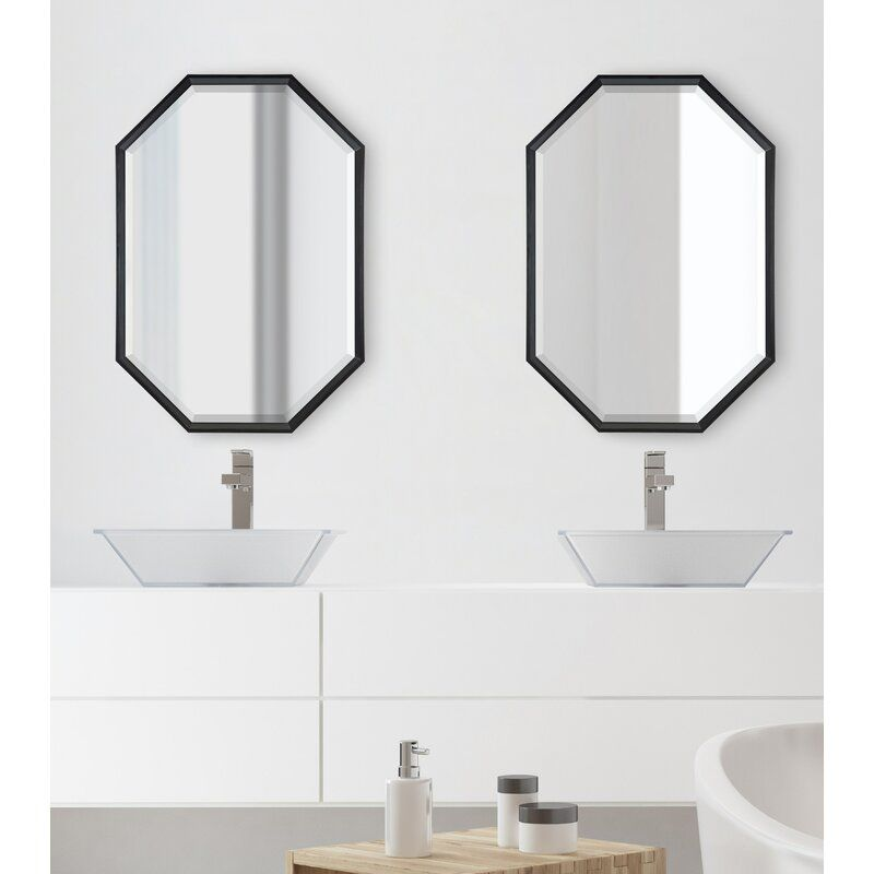 Gatsby Elongated Octagon Modern Beveled Accent Mirror In 2020 Small Bathroom Mirrors Octagon Mirror Mirror