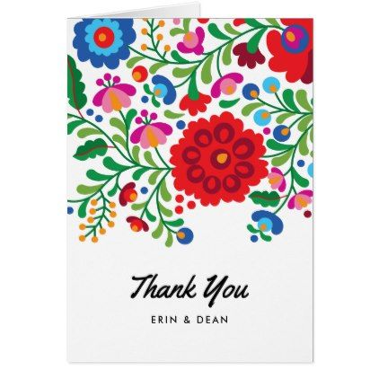Mexican Embroidery Thank You Note Photo Card  Mexican Embroidery