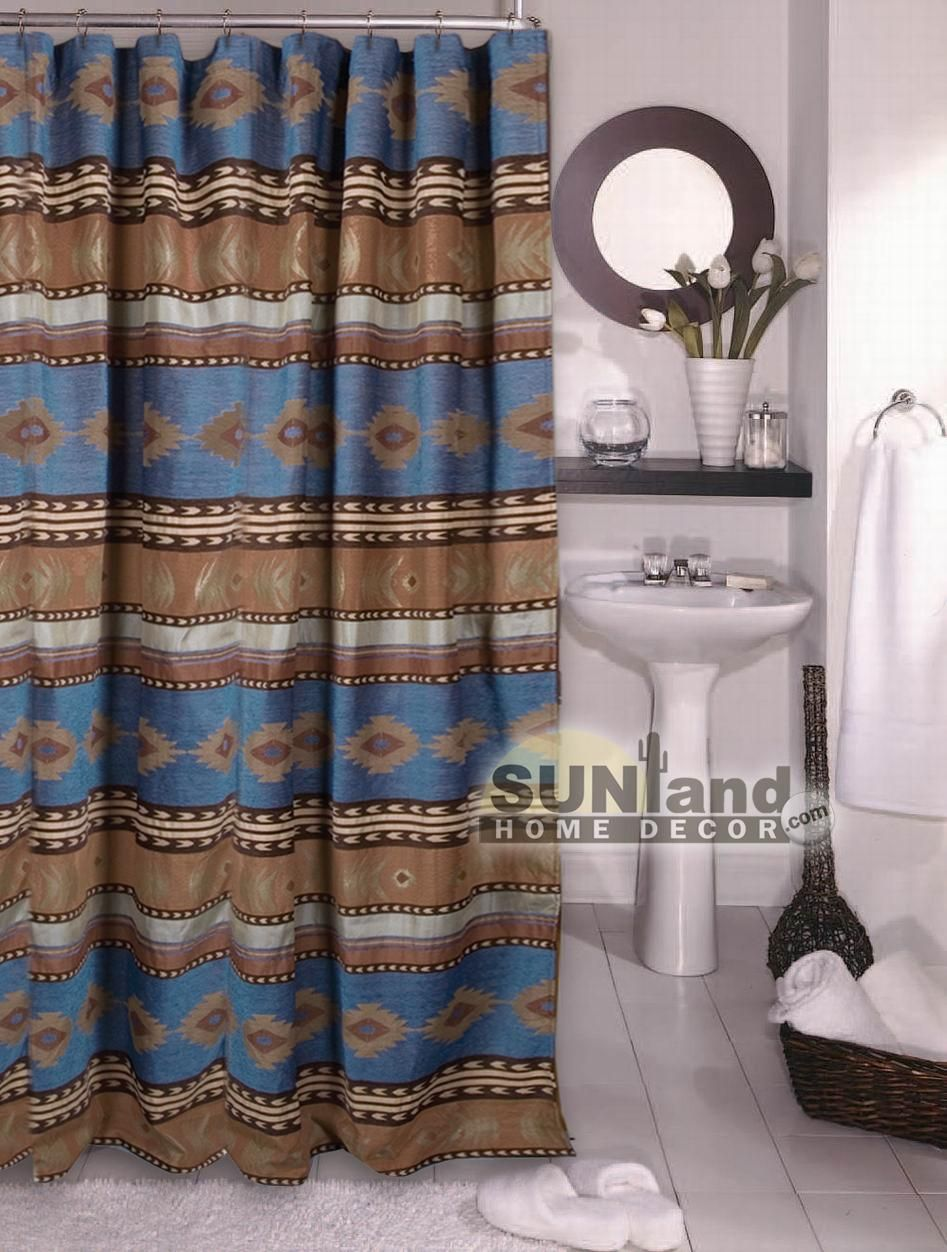 Sierra Ranch Fabric Shower Curtain Western Shower Curtain Southwest Shower Curtain Luxury Shower Curtain