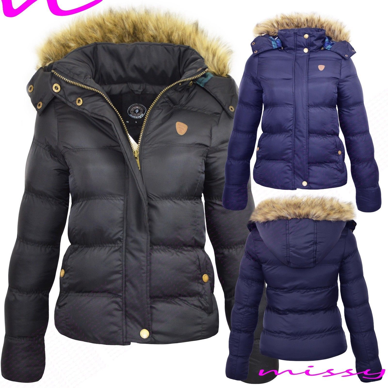 Details about WOMENS LADIES QUILTED WINTER COAT PUFFER FUR