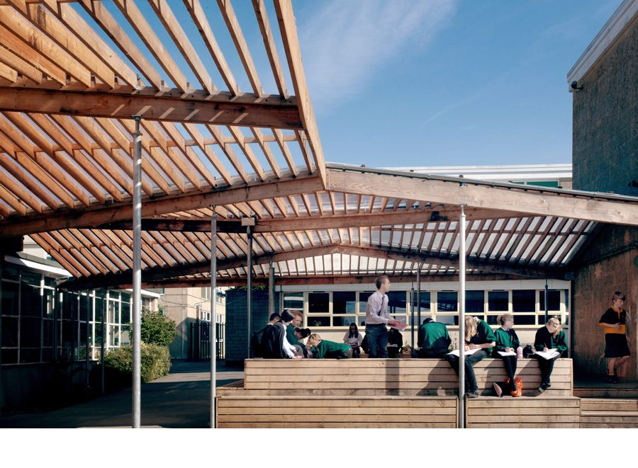School larch canopy and external classroom feilden for Modern building canopy design