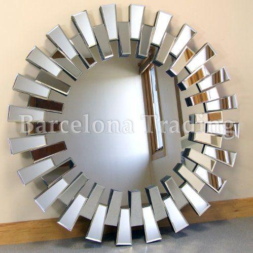 chelsea art deco bevelled venetian round wall mirror 39 diameter extra large. Black Bedroom Furniture Sets. Home Design Ideas