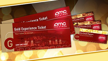 AMC Theatres Movie Bundle 2 Gold Experience Tickets Show Snacks Drinks And One Popcorn