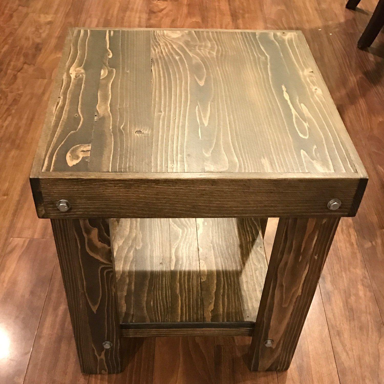 Rustic End Table | Wall stud, Interior walls and Dark walnut