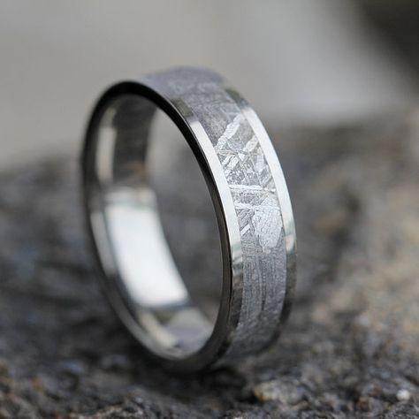 Authentic Meteorite Men S Wedding Band In Titanium Meteorite