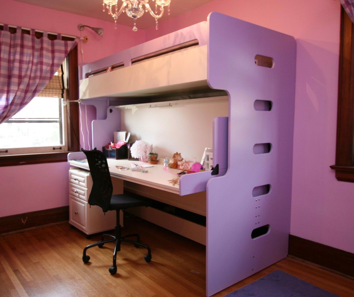 Girls bedroom 💗 Bunk beds with stairs, Cool bunk beds