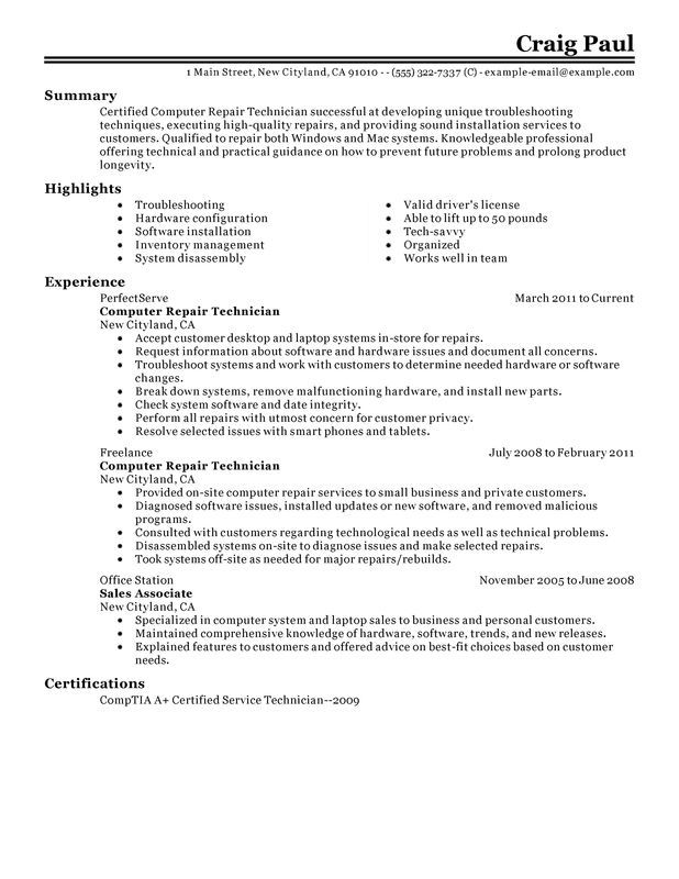 unforgettable computer repair technician resume examples stand out