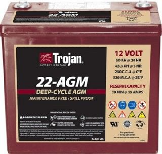 Trojan 22 Agm 12 Volt 50 Ah Deep Cycle Agm Battery Deep Cycle Battery Batteries Cycle