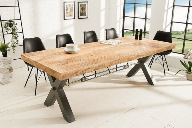 Massiver Esstisch Iron Craft Eisen 240cm Industrial Design Esstisch Tisch Haus Deko