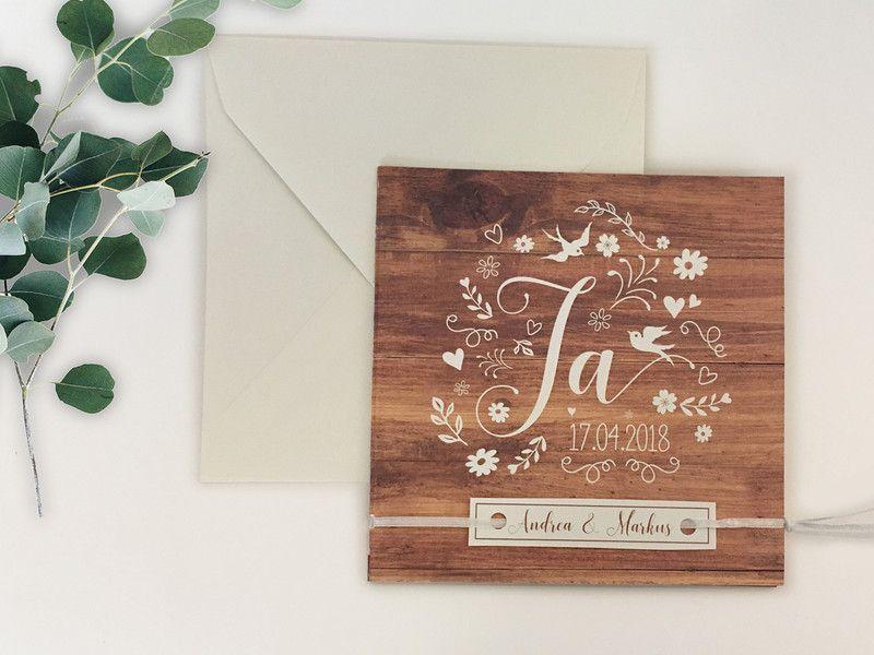 Einladungskarten Einladung Zur Hochzeit Holz Ein