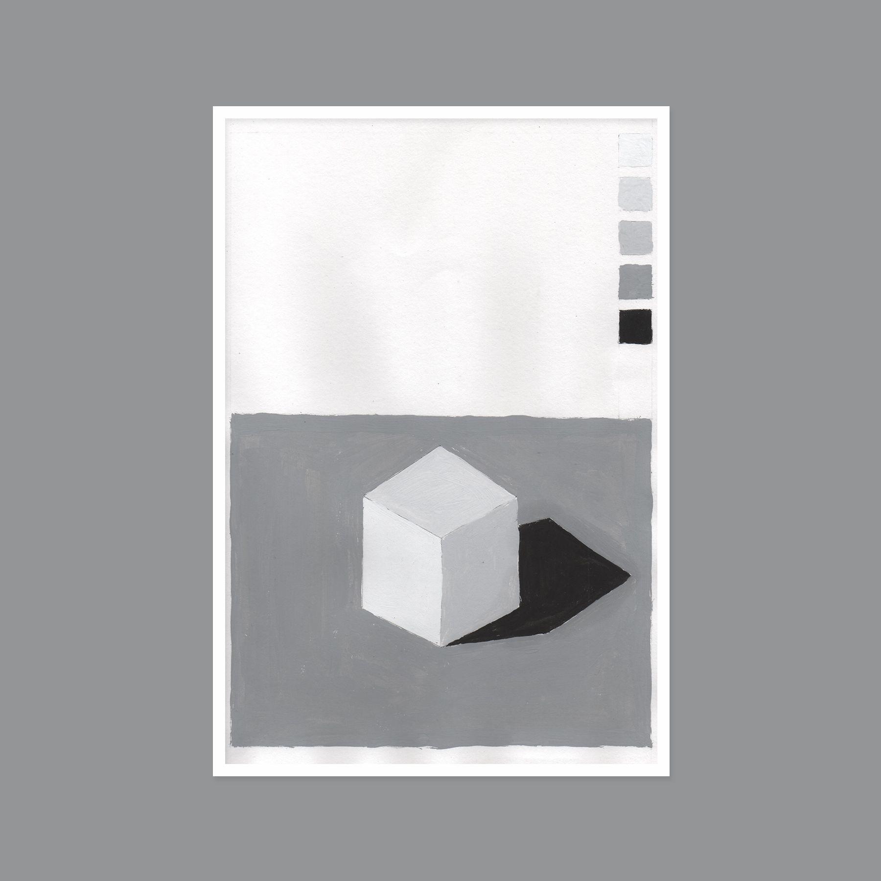 Pintura Con Tempera Cubo Acromatico Edgarcornejo Devcornejo