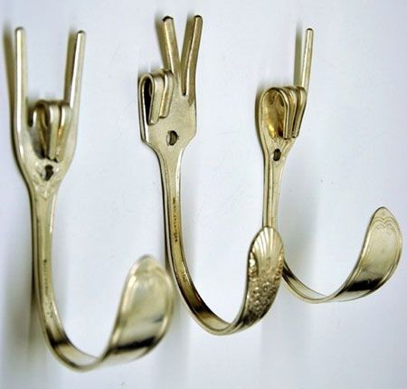 "Cool Hooks it would be cool if these bent fork coat hooks said ""1, 2, 3"