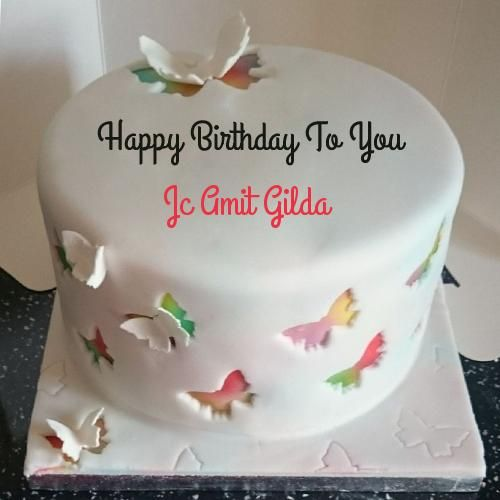 Write Name on Rainbow Butterfly Birthday Cake Birthday images