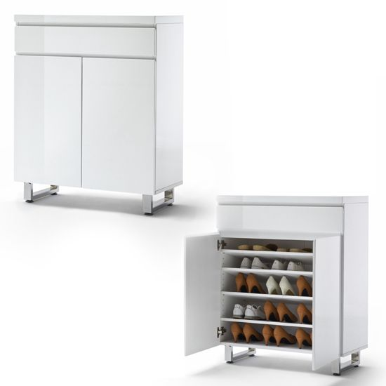 Sydney Shoe Cabinet In High Gloss White With 2 Door And Drawer Part 30