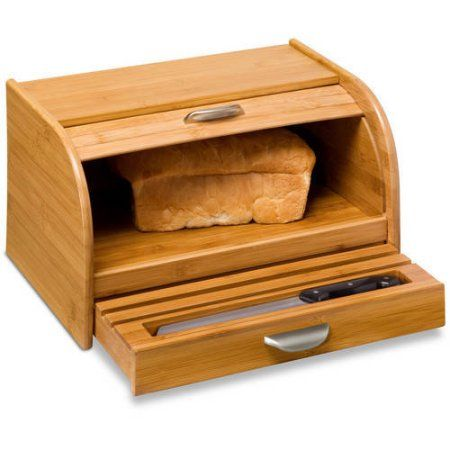 Honey-Can-Do Bamboo Roll-Top Breadbox, Brown