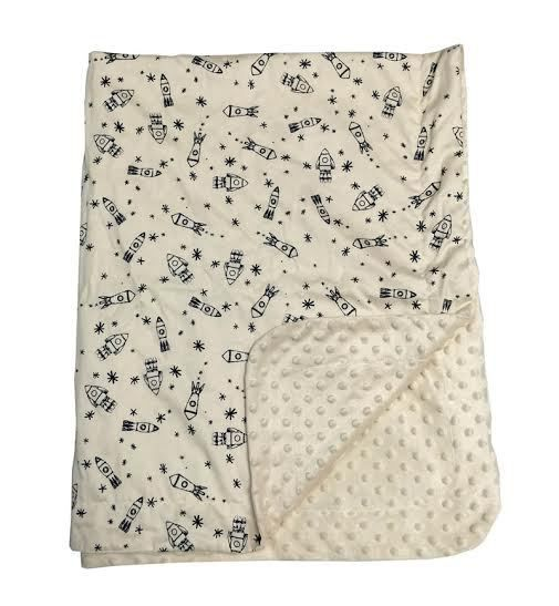 Namely Newborns - Sophisticated Personalized Kid's Blanket - Rockets Away,  $65.00 (https:/