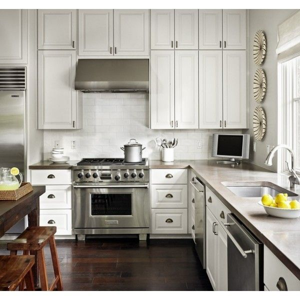 White Cabintes With Grey Brown Countertops Kitchens