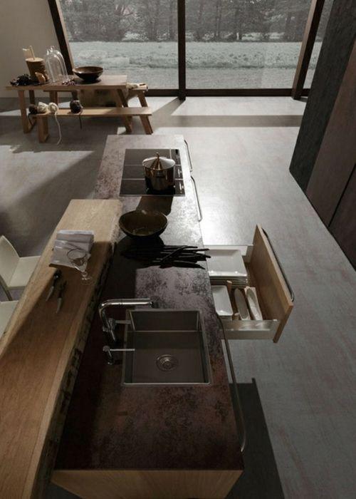 Raue ausgefallene Küchen Designs spüle schubladen | kitchen ...