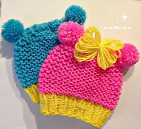 Loom Knit Baby Hat With Pom Pom Animal Ears Quicker Easier