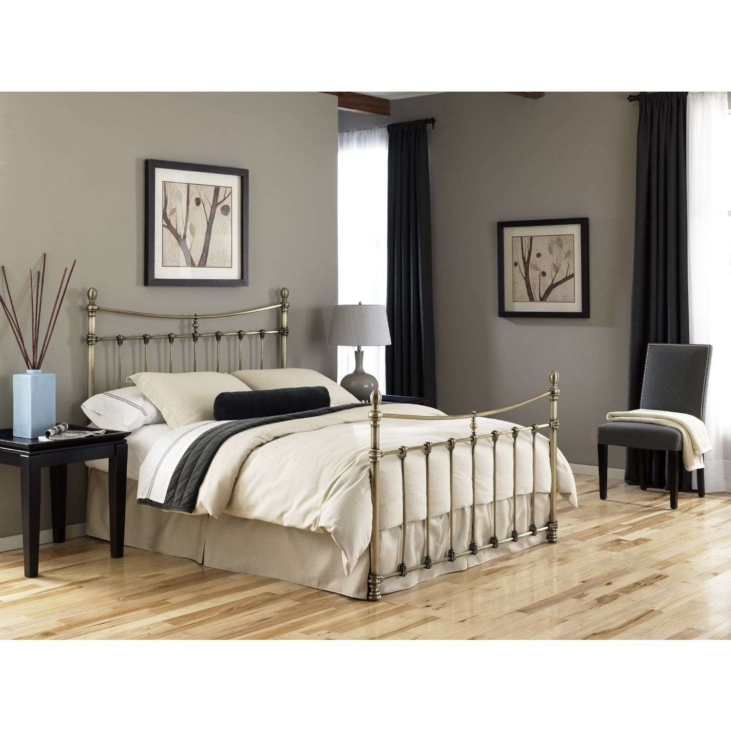 Leighton Antique style Brass Bed King Silver steel