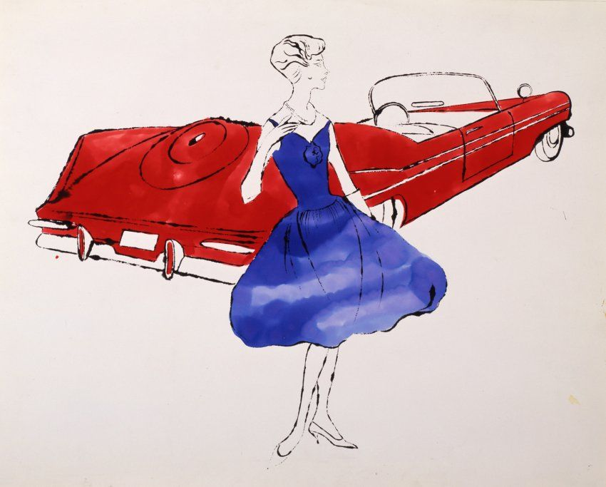 Female Fashion Figure with Plymouth Sport Fury Convertible
