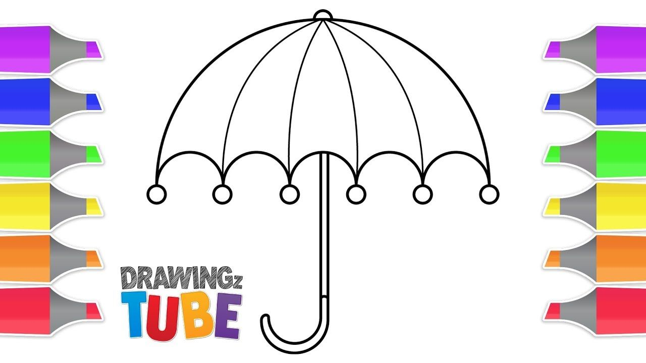 How To Draw A Umbrella For Kids Drawing For Kids Educational Videos Drawing For Kids Illustration Art Kids Drawing Videos For Kids
