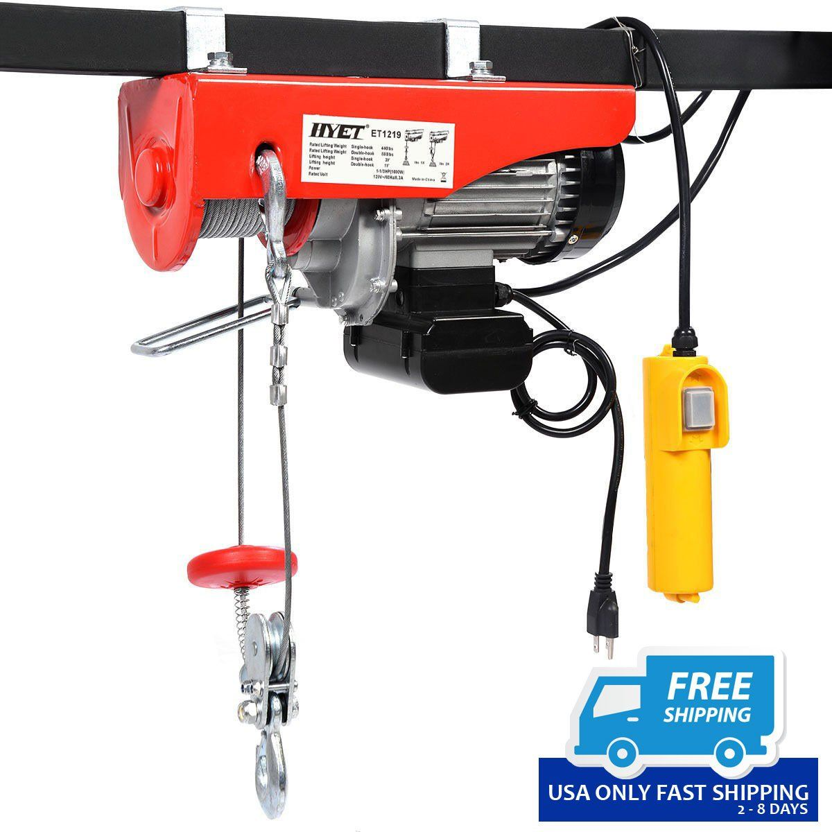 880lbs mini electric wire hoist remote control garage auto shop overhead lift  [ 1200 x 1200 Pixel ]