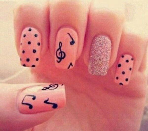 Peach music note nails | Kira and Momma Nail Fun | Pinterest | Music ...